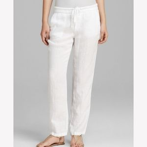 James Perse white linen pull on pants